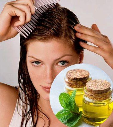 aplicación correcta del aceite de menta en el cabello